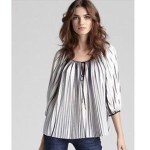 "DVF ""New Keoni"" Pleated Blouse: Black & White"